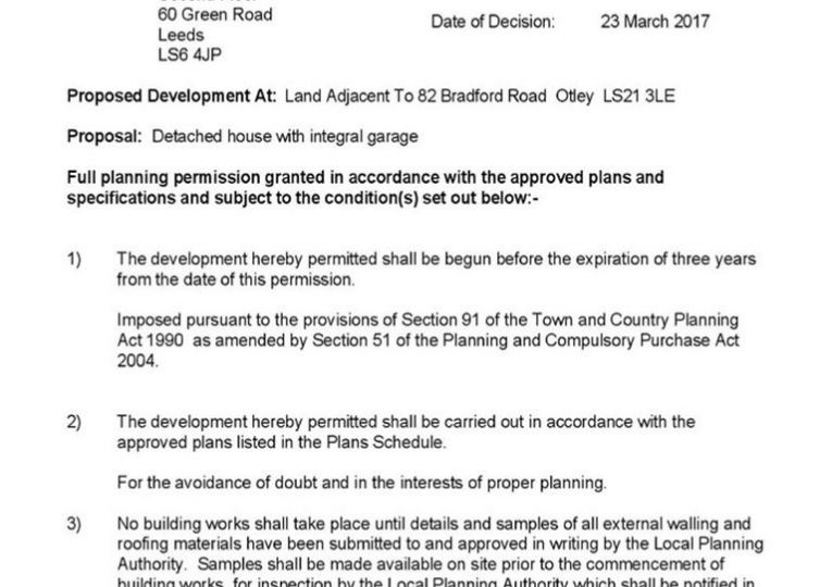 BUILDING PLOT  Land Adjacent To 82 Bradford Road